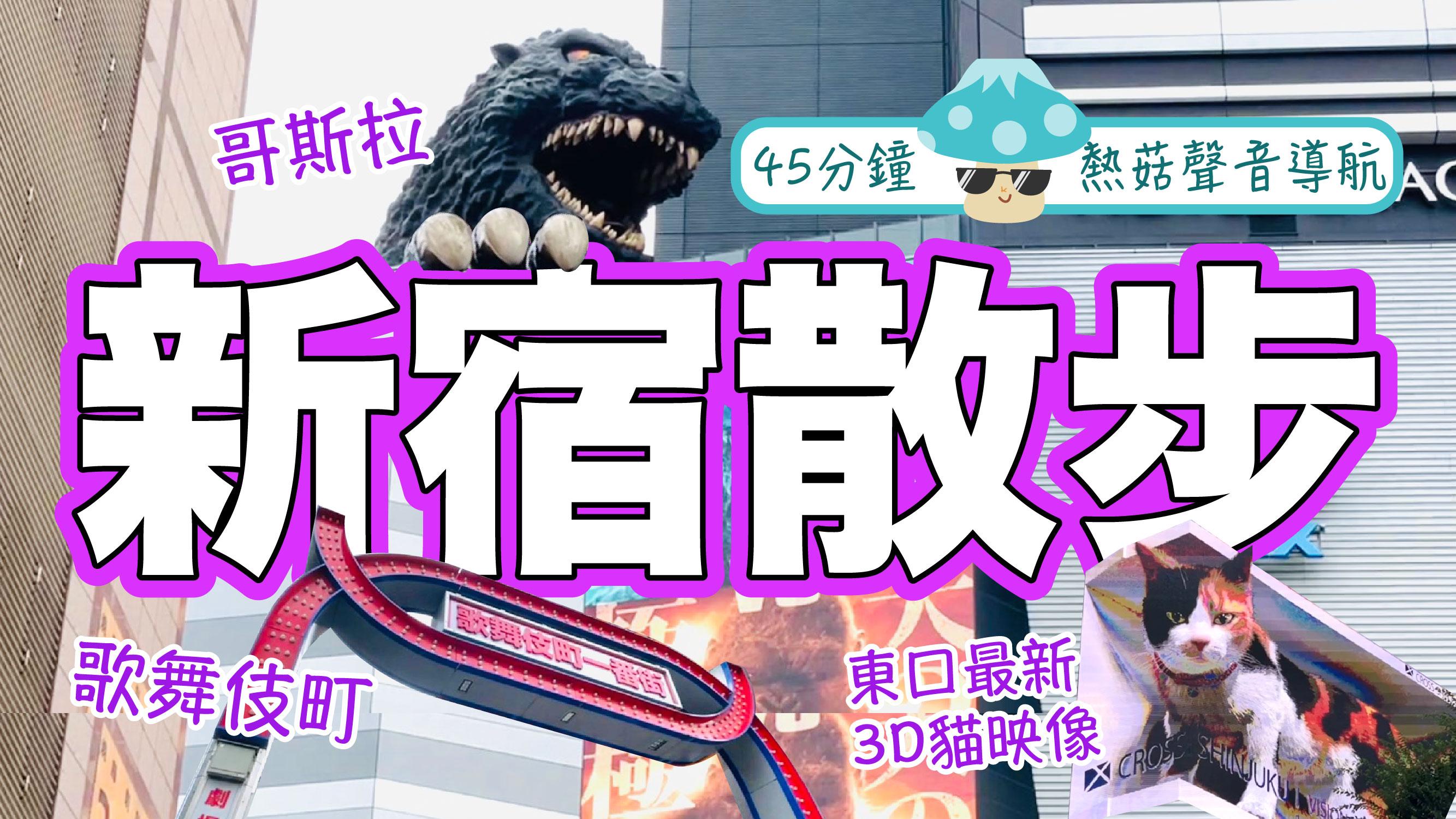 東京新宿散步(熱菇聲音導航版)|45分鐘帶你第一視角遊疫情下的新宿!新宿站東西連絡通道→最新巨大3D貓→歌舞伎町→思出橫丁→太多不能盡錄…|2021年7月新鮮滾熱辣|熱菇日本
