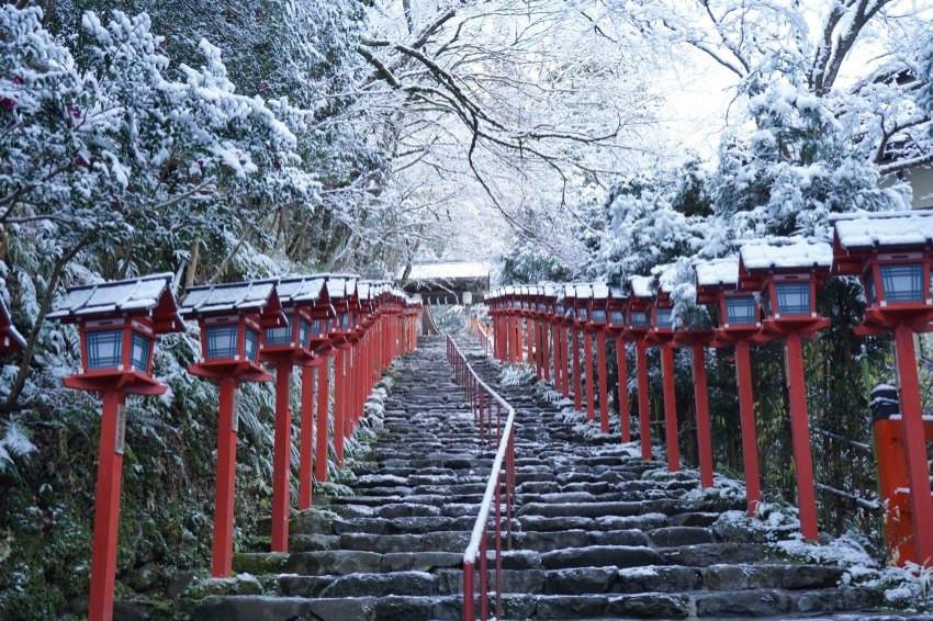 京都難得降大雪,貴船神社、舊三井下鴨別邸「雪化粧」夢幻美景再現!