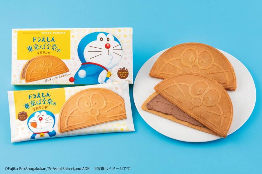 哆啦A夢X東京芭娜娜!酥脆餅皮夾入香蕉巧克力奶油,超萌半月夾心餅新上市!日本全國LAWSON、JR東京站限定販售