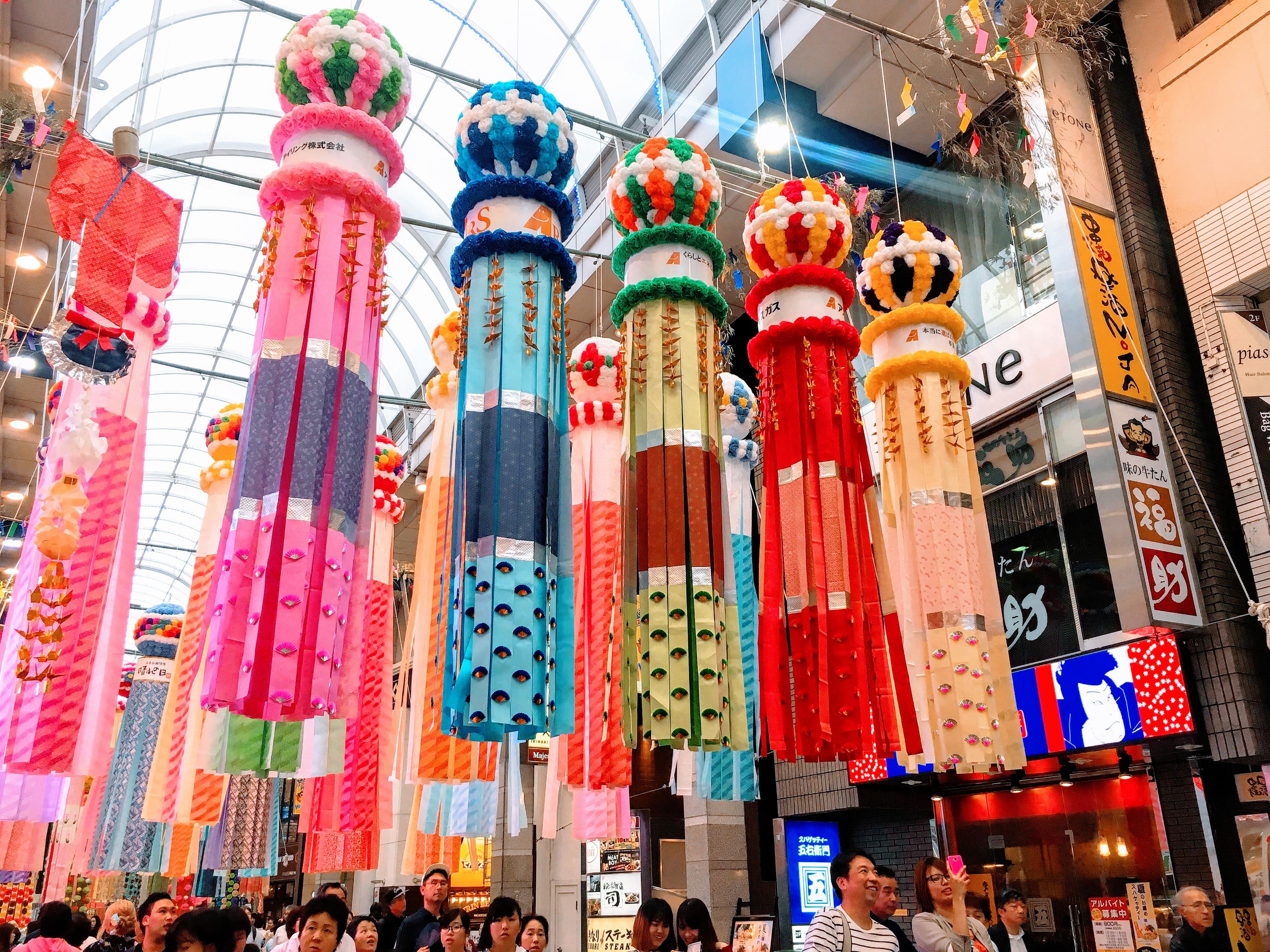 一年一度仙台七夕祭,巨型燦爛吊飾滿載夏日風情